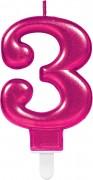 Zahlenkerze #3 - in Pink