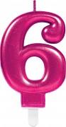 Zahlenkerze #6 - in Pink