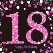 16 Servietten mit der Zahl 18 - Sparkling Pink
