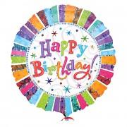 Folienballon Happy Birthday Radiant