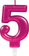 Zahlenkerze #5 - in Pink