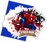 6 Einladungen + Umschläge Spiderman - Web Warriors