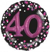 XXL Folienballon 40. Geburtstag - Sparkling Pink