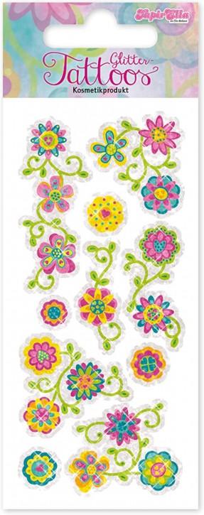 Bunte Blumen Glitzer-Tattoos
