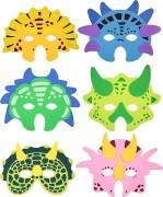 6 Partymasken Dinosaurier