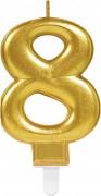 Zahlenkerze #8 - in Gold