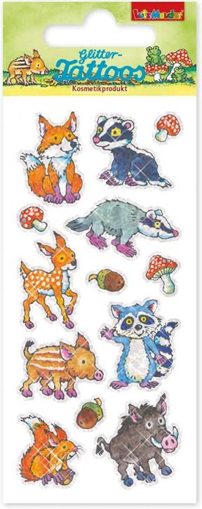Süße Waldtiere Glitzer-Tattoos