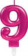 Zahlenkerze #9 - in Pink