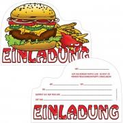 6 Einladungskarten Burger Party
