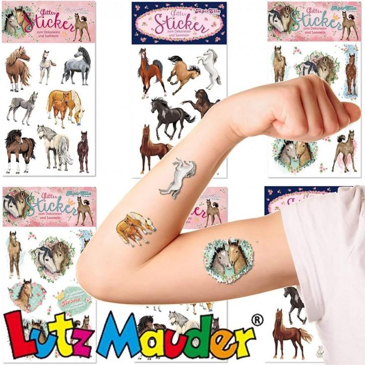 25 Glitter-Sticker Pferde