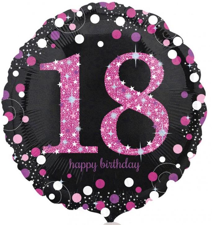 Runder Folienballon - Sparkling Pink Zahl 18 (45cm)