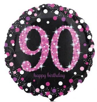 Runder Folienballon - Sparkling Pink Zahl 90 (45cm)