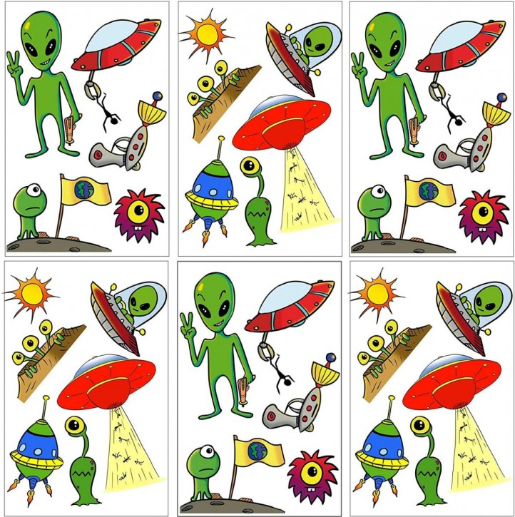 6-teiliges Tattoo-Set Alien