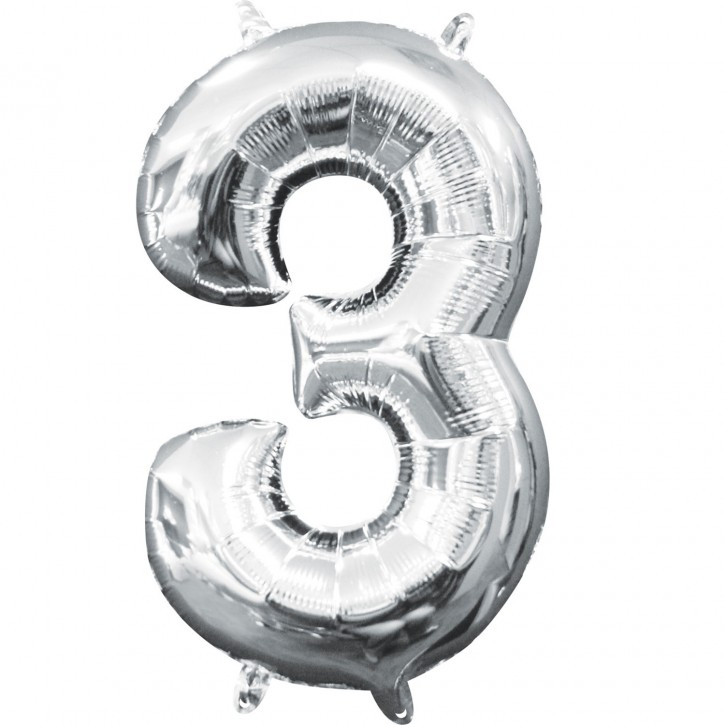 "Air-Filled Folienballon silber - ""3"" (40cm)"