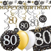 Deko-Set: 80. Geburtstag - Sparkling Celebration