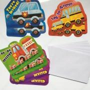 8 Einladungskarten Fahrzeuge