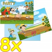 8 Einladungskarten Bauernhof