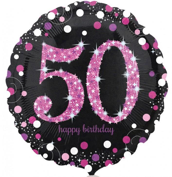 Runder Folienballon - Sparkling Pink Zahl 50 (45cm)
