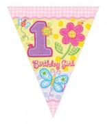 Wimpelkette 1. Birthday - Girl
