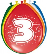 8 Luftballons Zahl 3