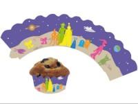 12 Cupcake Deko-Banderolen Weltraum für Muffins