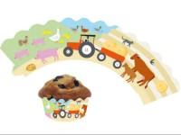 12 Cupcake Deko-Banderolen Bauernhof für Muffins