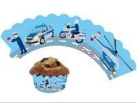 12 Cupcake Deko-Banderolen Polizei für Muffins