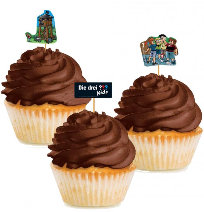 10 Cupcake Deko-Sticks - Die drei ??? Kids