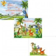6 Einladungen + Umschläge DIN A6 Dinosaurier / T-Rex