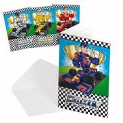 8 Einladungen + Umschläge Formula / Rennwagen / Champion