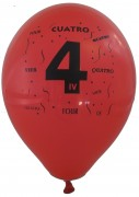10 Luftballons Zahl 4