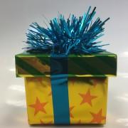 Ballongewicht Geschenk - blaues Geschenkband, grüner Deckel