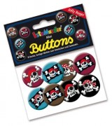 "8 Mini Buttons ""Jolly Roger"""