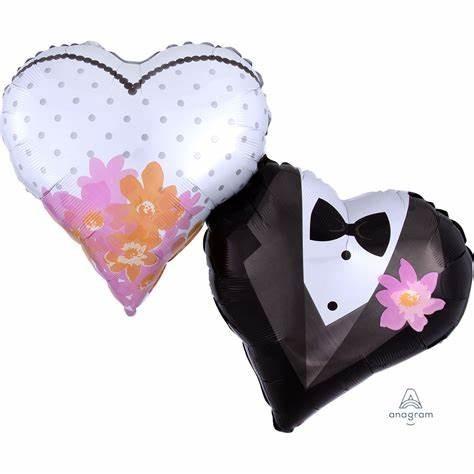 Supershape Folienballon Herz - Wedding Couple Hearts (63x76 cm)