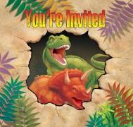 8 Einladungen + Umschläge Dinos und T-Rex II