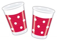 10 Becher Gartenparty (Red Dots)