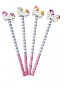 4 Bleistifte mit Radiergummi - Einhorn