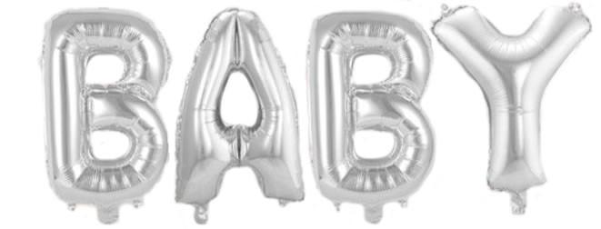 "Air-Filled Folienballon Silber - ""BABY"" (á 36cm)"