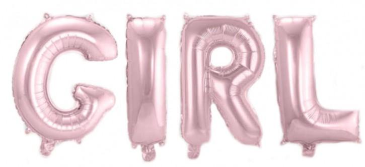 """Air-Filled Folienballon Rosa - """"GIRL"""" (á 36cm)"""