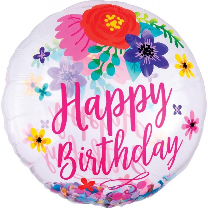 Ballon rund - Happy Birthday Flower (71cm ∅)