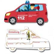 6 Einladungskarten als Feuerwehrauto