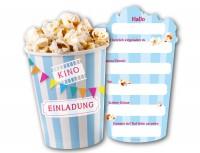 6 Einladungskarten Popcorn für Kino Geburtstag