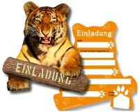 6 Einladungskarten Tiger für Zoo Geburtstag