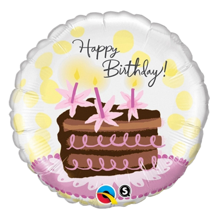 Folienballon rund - Happy Birthday Torte (45,7cm ∅)