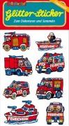 Feuerwehrfahrzeuge Glitter Sticker