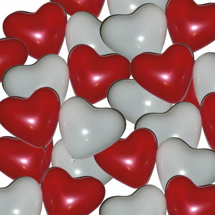 25 weiße Herzballons
