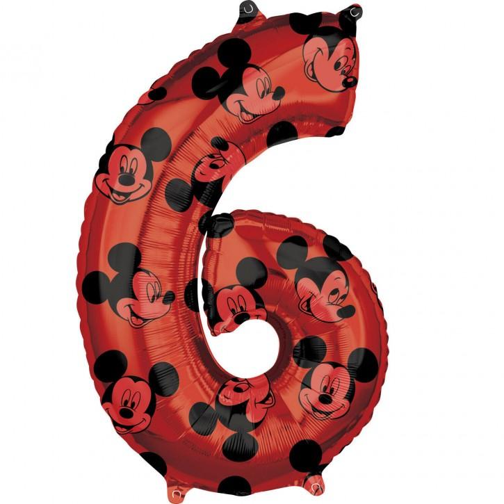 Folienballon Micky Maus - Zahl 6 (66cm)