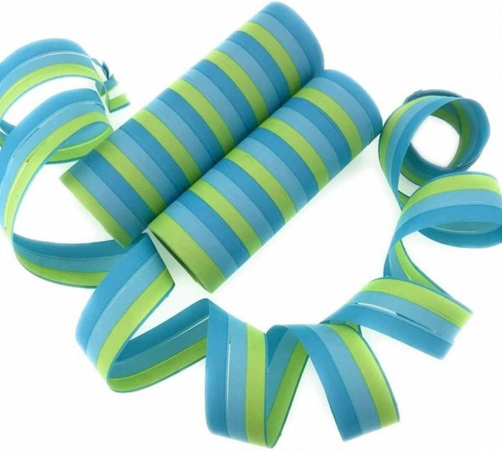 2 Luftschlangen - Blau,Hellblau,Grün