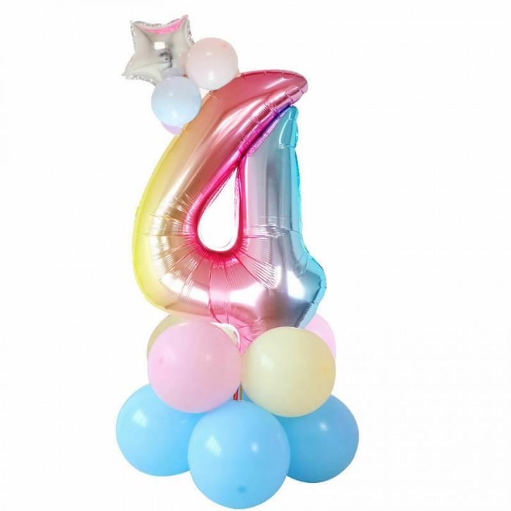 Regenbogen Ballon-Set Zahl 4 - mit Stern