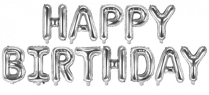 "Air-Filled Folienballon Silber - ""Happy Birthday"" (á 35cm)"